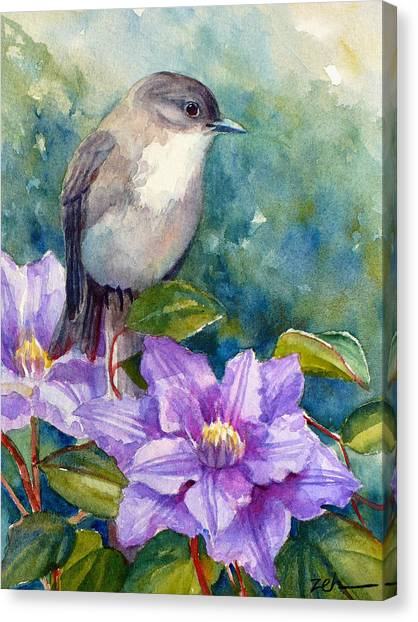 Phoebe And Clematis Canvas Print