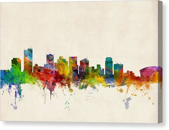 Phoenix Canvas Print - Phoenix Arizona Skyline by Michael Tompsett