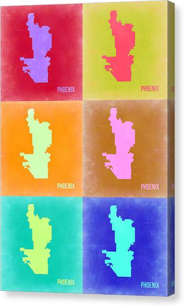 Phoenix Canvas Print - Phoenix Pop Art Map 3 by Naxart Studio