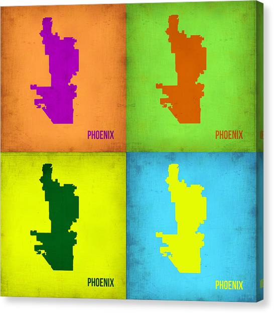 Phoenix Canvas Print - Phoenix Pop Art Map by Naxart Studio