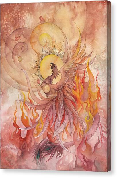 Breast Cancer Canvas Print - Phoenix Rising by Ellen Starr