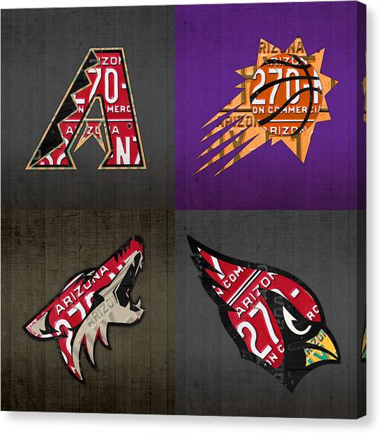 Arizona Diamondbacks Canvas Print - Phoenix Sports Fan Recycled Vintage Arizona License Plate Art Diamondbacks Suns Coyotes Cardinals by Design Turnpike