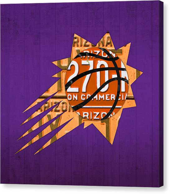 Phoenix Suns Canvas Print - Phoenix Suns Basketball Team Retro Logo Vintage Recycled Arizona License Plate Art by Design Turnpike