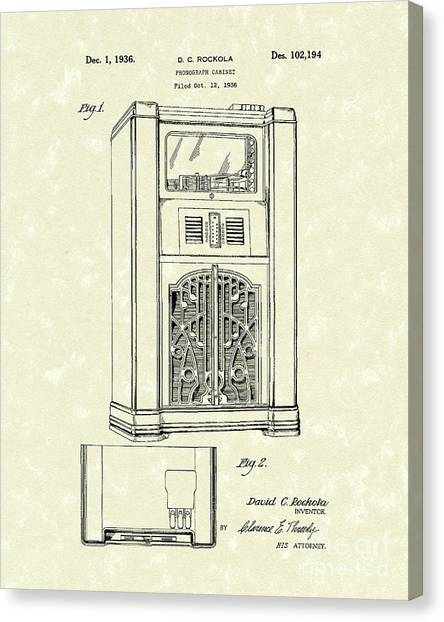 Jukebox Canvas Print - Phonograph Cabinet 1936 Patent Art by Prior Art Design