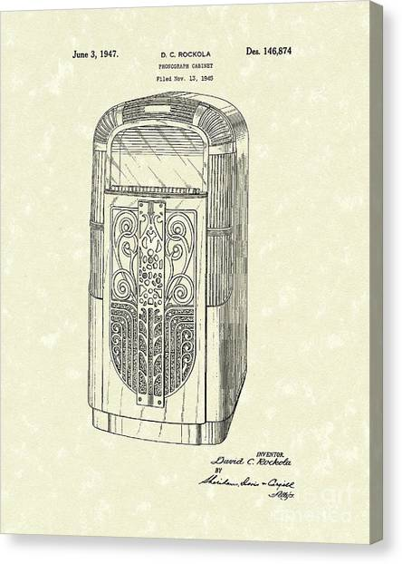 Jukebox Canvas Print - Phonograph Cabinet 1947 Patent Art by Prior Art Design