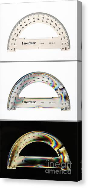 Protractors Canvas Print - Photoelastic Stress In Plastic by GIPhotoStock