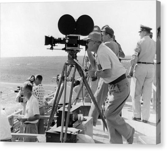 Movie Canvas Print - Photographers Filming An Event by Underwood Archives