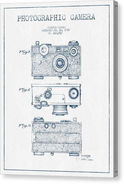 Vintage Camera Canvas Print - Photographic Camera Patent Drawing From 1938- Blue Ink by Aged Pixel