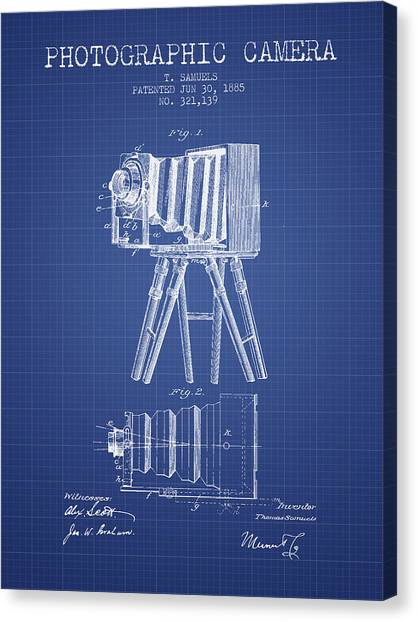 Vintage Camera Canvas Print - Photographic Camera Patent From 1885 - Blueprint by Aged Pixel