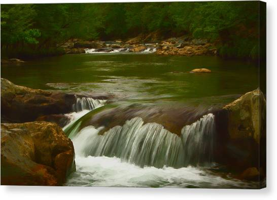 Photographic Painting Of Rushing Water Canvas Print