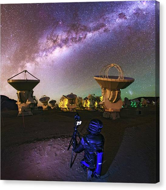 Atacama Desert Canvas Print - Photographing Alma Radio Telescope by Babak Tafreshi