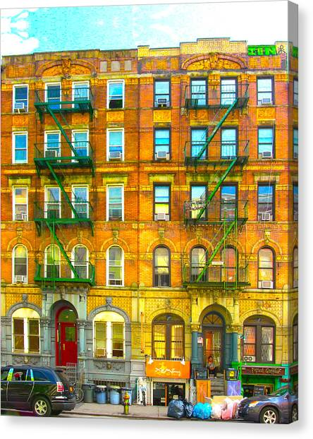 Jimmy Page Canvas Print - Physical Graffiti Houses by Adam Workman
