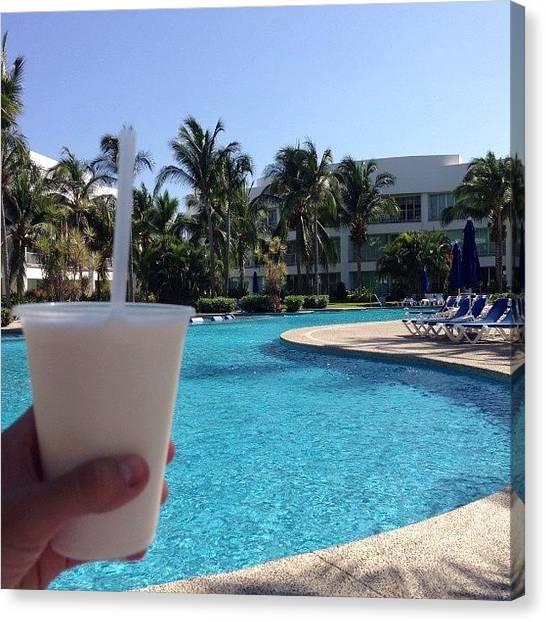 Rum Canvas Print - Piña Colada ! #pool #acapulco by Oscar Espinosa
