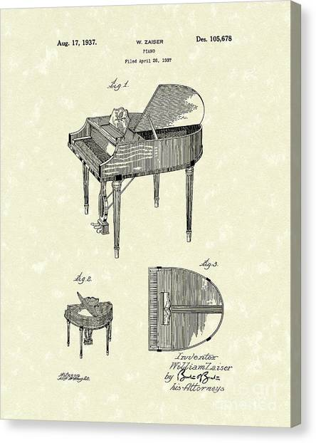 Electronic Instruments Canvas Print - Piano 1937 Patent Art by Prior Art Design