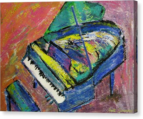 Piano Blue Canvas Print