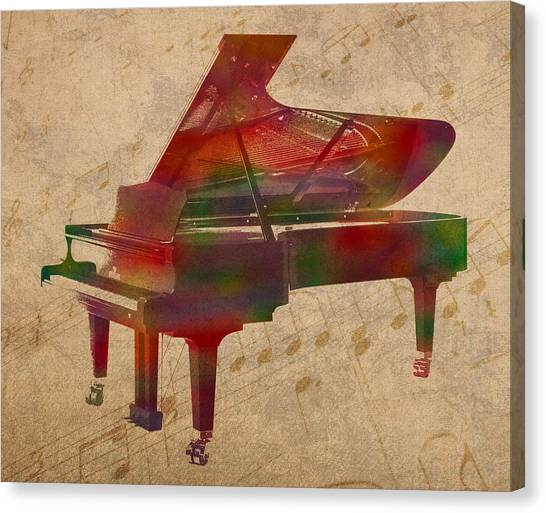 Stringed Instruments Canvas Print - Piano Instrument Watercolor Portrait With Sheet Music Background On Worn Canvas by Design Turnpike