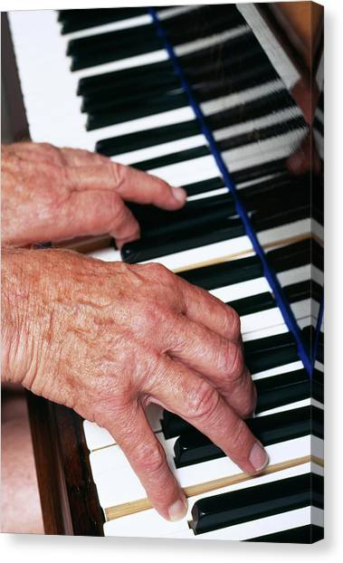 Piano Playing Canvas Print by Jerry Mason/science Photo Library