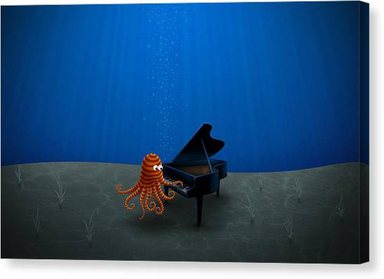 Piano Playing Octopus Canvas Print