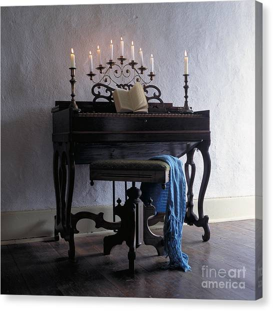 Piano With Candelabra Canvas Print