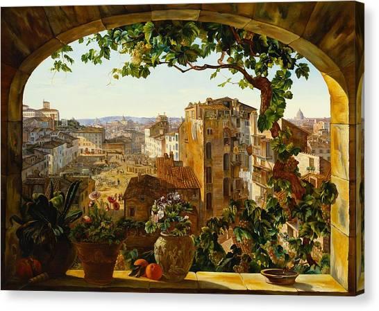 Vine Grapes Canvas Print - Piazza Barberini In Rome by Karl von Bergen