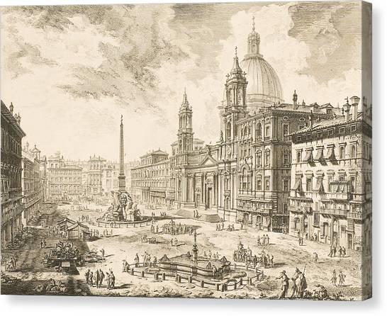 Printmaking Canvas Print - Piazza Navona by Giovanni Battista Piranesi