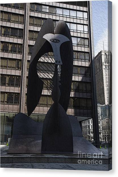 Pablo Picasso Canvas Print - Picasso In Chicago by David Bearden