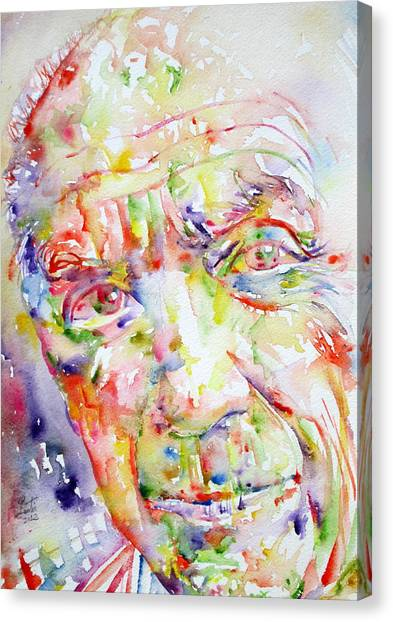 Pablo Picasso Canvas Print - Picasso Pablo Watercolor Portrait.2 by Fabrizio Cassetta