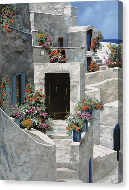 Greek Canvas Print - piccole case bianche di Grecia by Guido Borelli