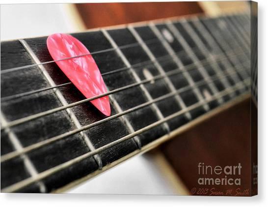 Guitar Picks Canvas Print - Pick Pink by Susan Smith