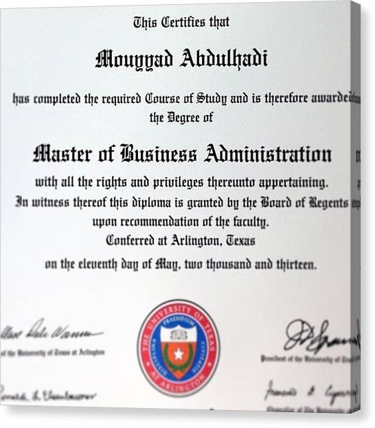Mba Canvas Print - Picked Up My Diploma Today #graduation by Mouyyad Abdulhadi
