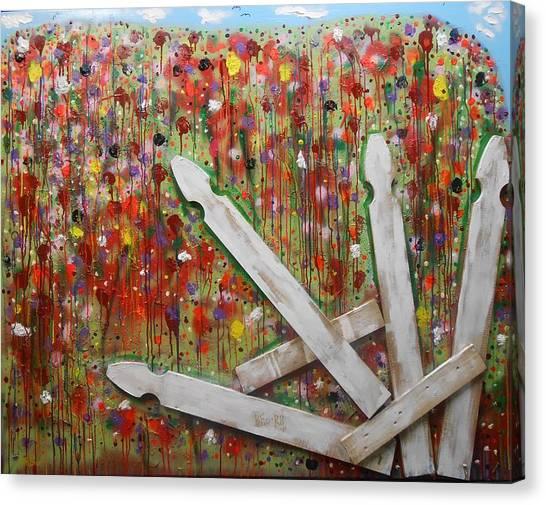 Picket Fence Flower Garden Canvas Print