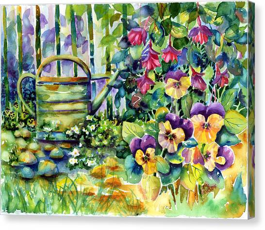 Picket Fence Pansies Canvas Print