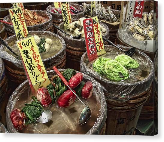 Yen Canvas Print - Pickled Vegetables Street Vendor - Kyoto Japan by Daniel Hagerman