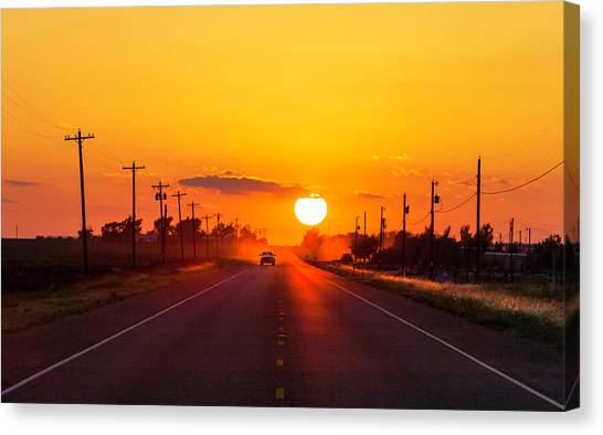 Pickup Truck At Sunset On West Texas Canvas Print