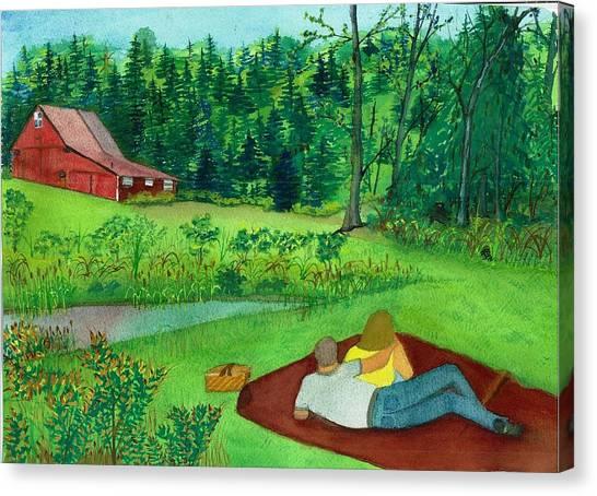 Picnic On The Farm Canvas Print
