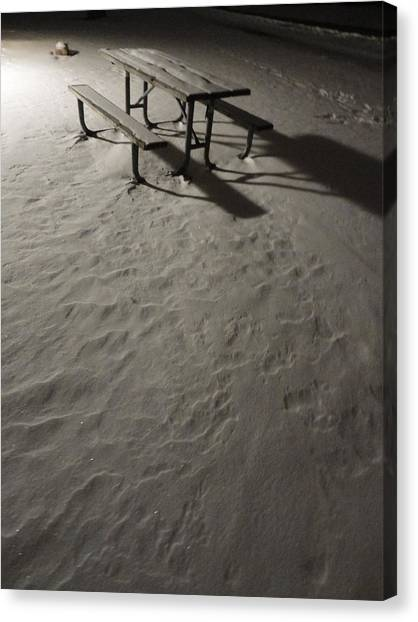 Picnic Table In The Untried Snow Canvas Print by Guy Ricketts