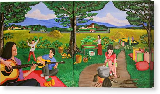 Picnic With The Farmers And Playing Melodies Under The Shade Of Trees Canvas Print