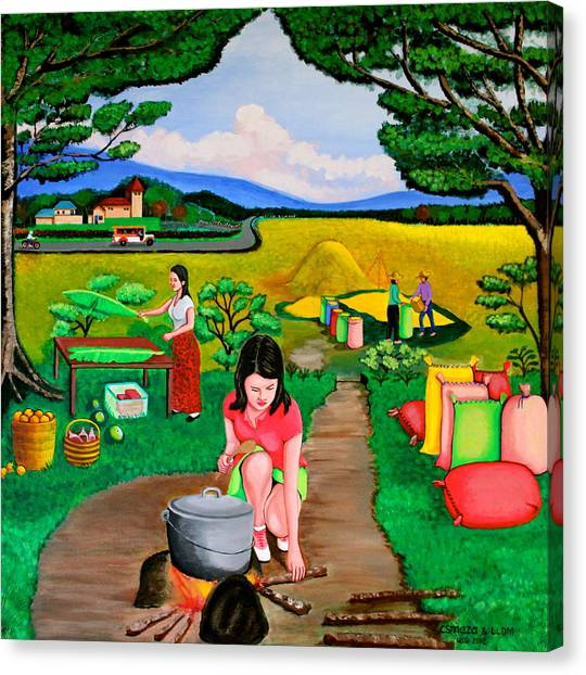 Picnic With The Farmers Canvas Print