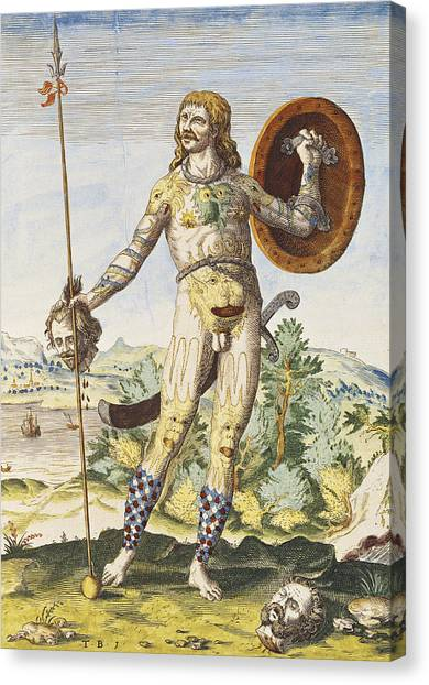 Barbarian Canvas Print - Pictish Man, From Admiranda Narratio..., Engraved By Theodore De Bry 1528-98 1585-88 Coloured by John White