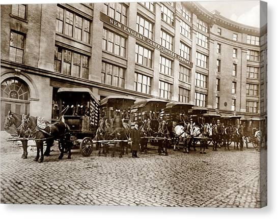 Picture 14 - New - New England Confectionery Co With Horses  Wide Canvas Print