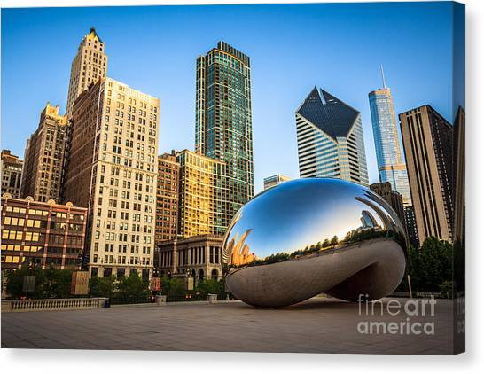 Skylines Canvas Print - Picture Of Cloud Gate Bean And Chicago Skyline by Paul Velgos