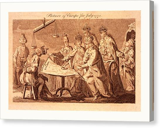 Influence Canvas Print - Picture Of Europe For July 1772, Catherine II, Leopold II by Litz Collection