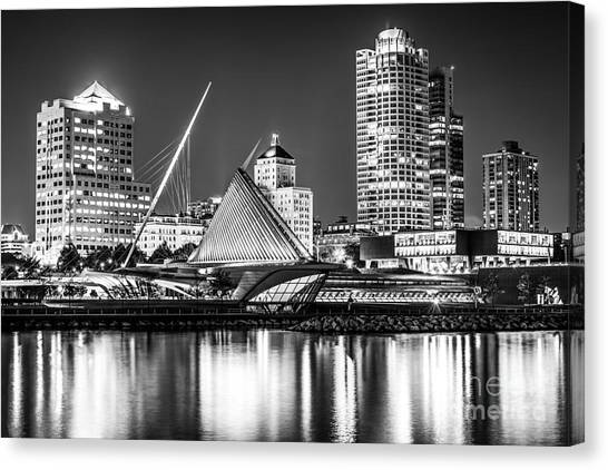 Northwestern University Canvas Print - Picture Of Milwaukee Skyline At Night In Black And White by Paul Velgos