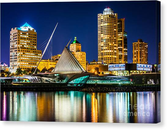 Lake Michigan Canvas Print - Picture Of Milwaukee Skyline At Night by Paul Velgos
