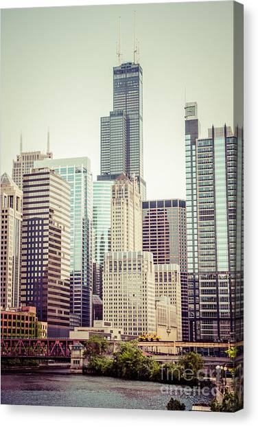 Skylines Canvas Print - Picture Of Vintage Chicago With Sears Willis Tower by Paul Velgos
