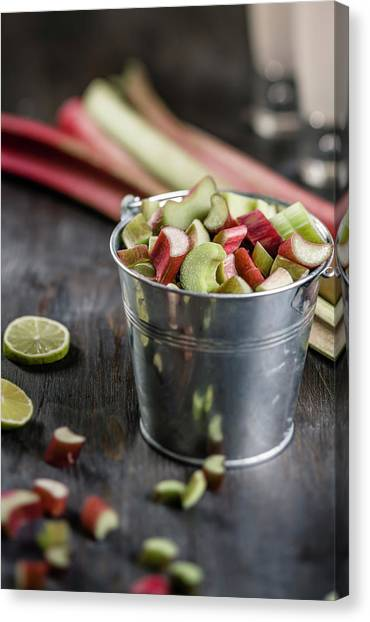 Pieces Of Rhubarb In Metal Bucket And Canvas Print
