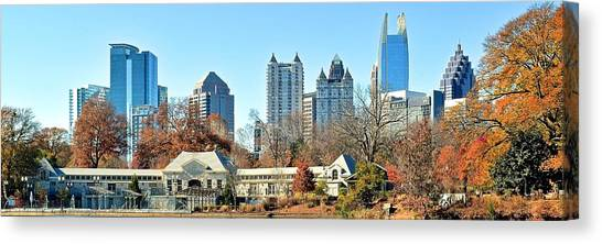 Augusta National Canvas Print - Piedmont Park Panoramic View Of Atlanta by Frozen in Time Fine Art Photography