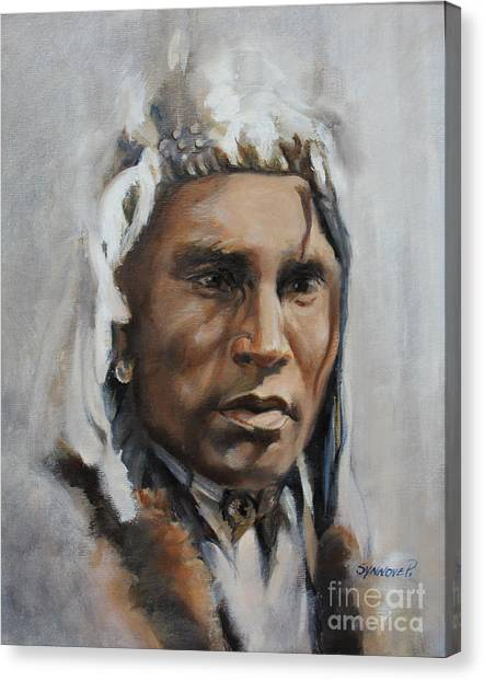 Piegan Warrior Portrait Canvas Print