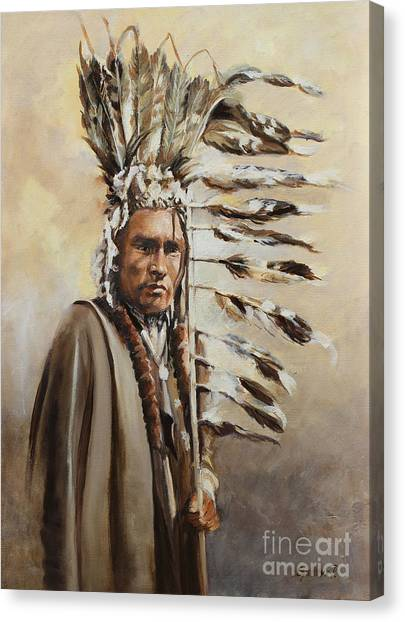 Piegan Warrior With Coup Stick Canvas Print