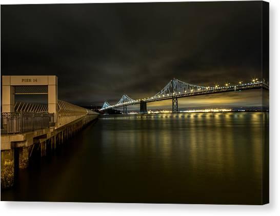 Pier 14 And Bay Bridge At Night Canvas Print